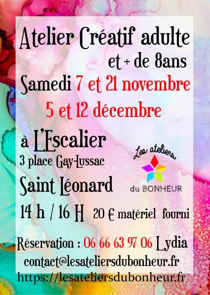 atelier creatif art loisir escalier st leo saint leonard haute vienne activités manuelles creation peinture dessin cours zen