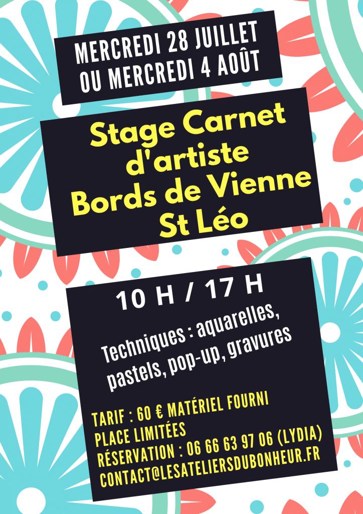 stage carnet artiste gravure art pop up aquarelle pastels atelier saint leonard de noblat été